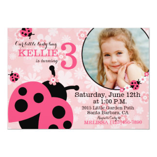 Garden flowers and Lady Bugs Birthday Invite