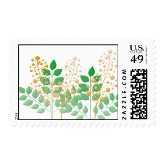 Garden Flowers and Leaves Postage Stamp