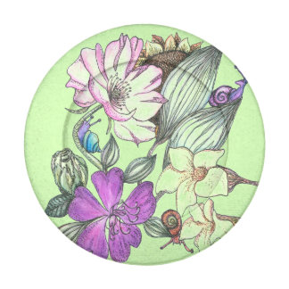 garden flowers and snails button covers