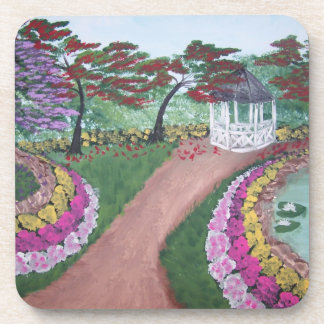 Garden flowers and trees - acrylic painting drink coaster
