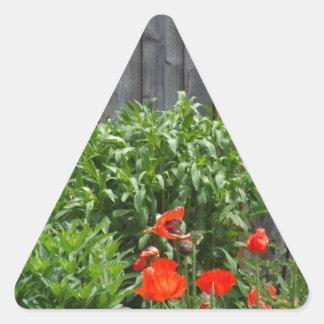 Garden Flowers at Fence Triangle Sticker