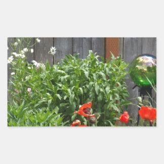 Garden Flowers at Fence Rectangular Sticker