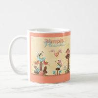Garden Flowers Bees Birdhouse Peach Country Prims Coffee Mug