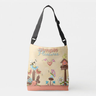 Garden Flowers Bees Birdhouse Peach Country Prims Crossbody Bag