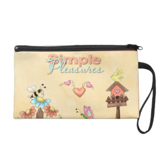 Garden Flowers Bees Birdhouse Peach Country Prims Wristlet