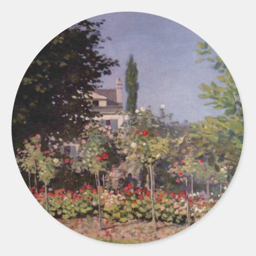 Garden Flowers by Claude Monet Classic Round Sticker
