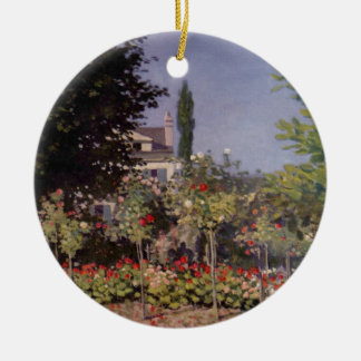 Garden Flowers by Claude Monet Double-Sided Ceramic Round Christmas Ornament