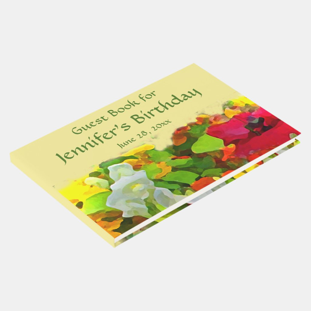 Garden Flowers Floral Birthday Party Guest Book