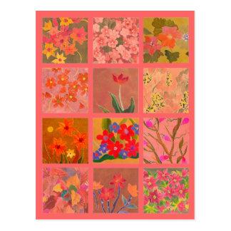 Garden Flowers Miniature Art in coral pink Postcard