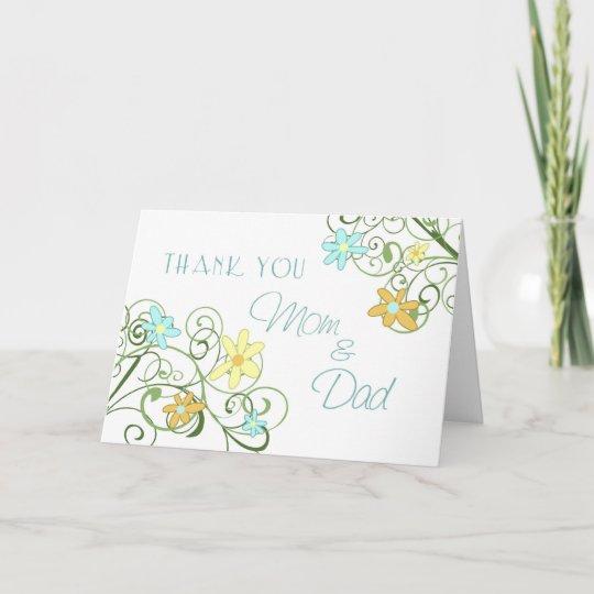 Garden Flowers Parents Wedding Day Thank You Card Zazzle Com