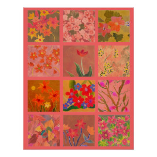 Garden Flowers Poster Art in coral pink Print