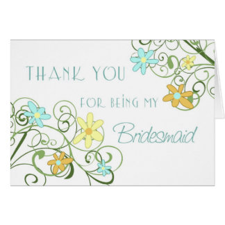 Garden Flowers Thank You Bridesmaid Card