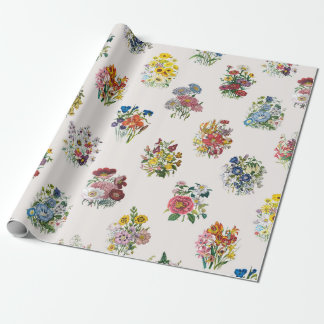 Garden flowers wrapping paper
