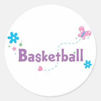 Garden Flutter Basketball Classic Round Sticker