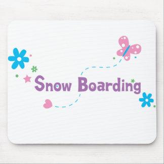 Garden Flutter Snow Boarding Mouse Pad
