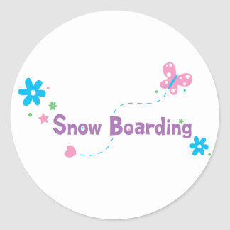 Garden Flutter Snow Boarding Round Stickers