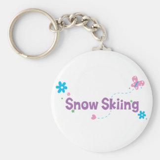 Garden Flutter Snow Skiing Basic Round Button Keychain