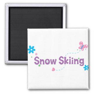 Garden Flutter Snow Skiing 2 Inch Square Magnet