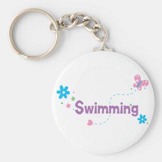 Garden Flutter Swimming Basic Round Button Keychain