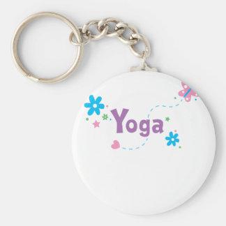 Garden Flutter Yoga Basic Round Button Keychain