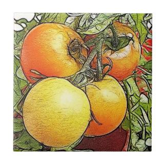 Garden Fresh Heirloom Tomatoes Small Square Tile