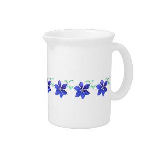 Garden Fresh Purple Clematis Flowers Drink Pitcher