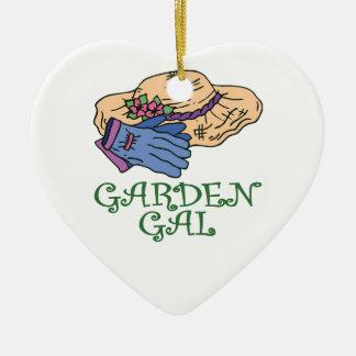 Garden Gal Double-Sided Heart Ceramic Christmas Ornament