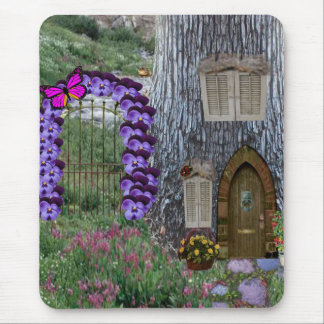 Garden Gate Fairy Cottage Mouse Pad