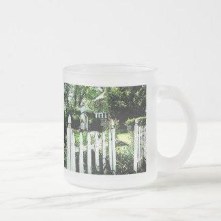 Garden Gate Frosted Glass Coffee Mug