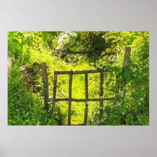 Garden Gate Green Country Lane Art Photo Print