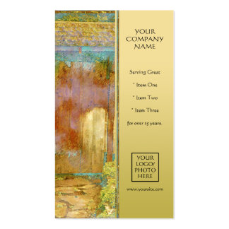 Garden Gate in Turquoise, Gold, and Green Business Card
