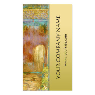 Garden Gate in Turquoise, Gold, and Green Business Card Template