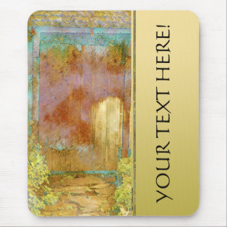 Garden Gate in Turquoise, Gold, & Green Custom Mouse Pad