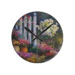 Garden Gate Round Wall Clock
