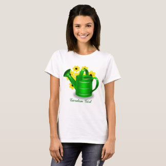 Garden Girl with Green Watering Can T-Shirt