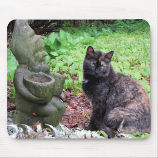 Garden Gnome and Black and orange Kitten Mouse Pad