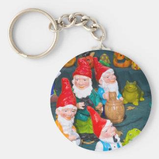 Garden gnome basic round button keychain