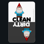 """Garden Gnome Dishwasher Magnet<br><div class=""""desc"""">Cute cartoon garden gnome clean/dirty dishwasher magnet  PLEASE NOTE this design was created for the large magnet only</div>"""