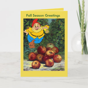 Bountiful harvest cards zazzle garden gnome fall season greetings card m4hsunfo