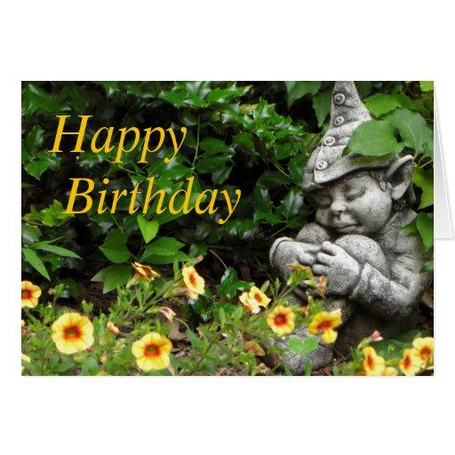 Garden Gnome Happy Birthday Card Zazzle