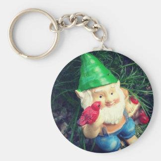 Garden Gnome in my Chamomile#inmygarden Basic Round Button Keychain