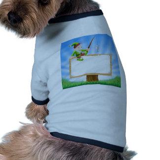 Garden gnome or elf sign doggie tshirt