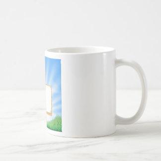 Garden gnome or elf sign mugs