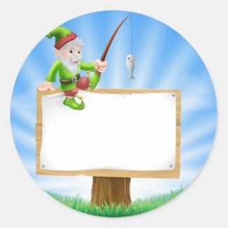 Garden gnome or elf sign sticker
