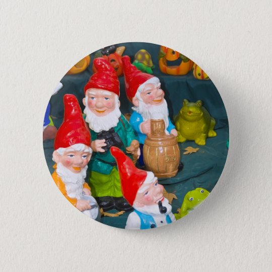 Garden gnome pinback button