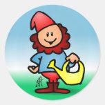 Garden gnome round sticker