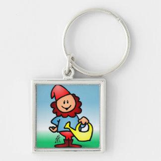 Garden gnome Silver-Colored square keychain