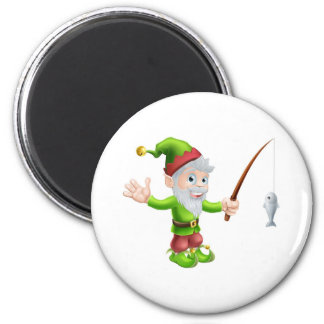 Garden gnome with fishing rod fridge magnets