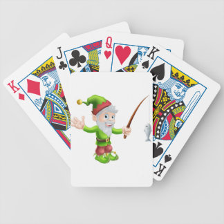 Garden gnome with fishing rod poker deck