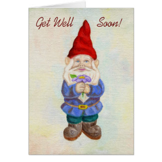 Garden Gnome with Flower get well card
